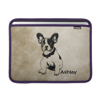 Personalized Cute Sweet French Bulldog Puppy MacBook Sleeve