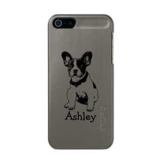 Personalized Cute Sweet French Bulldog Puppy Metallic iPhone SE/5/5s Case