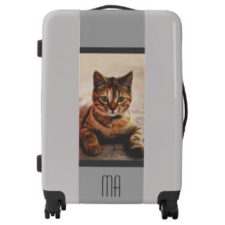 Personalized Cute Tabby Cat Kitten Kitty Pet Gray Luggage