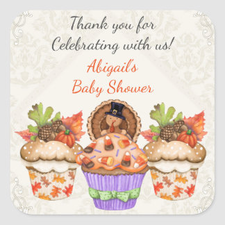 Personalized Cute Thanksgiving Cupcake Baby Shower Square Sticker