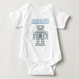 Personalized cute toy robot baby boy 1st Birthday Baby Bodysuit