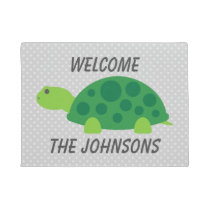 Personalized cute turtle polkadot welcome door mat