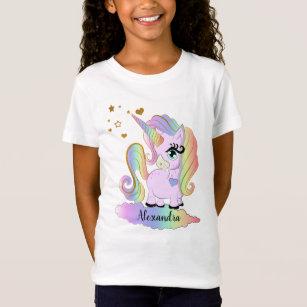 Personalised Name Unicorn Eyes T-Shirt Children/'s Kids T Shirt Girls Birthday