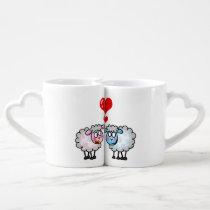 personalized cute wedding sheep couple coffee mug set