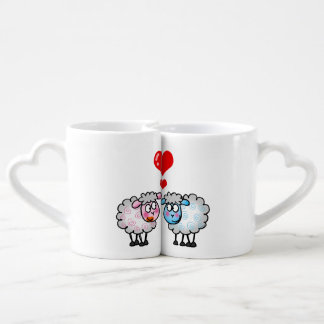 personalized cute wedding sheep couple coffee mug set
