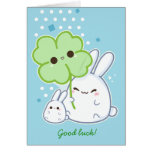 Personalized - Cute white bunny with kawaii clover Greeting Card