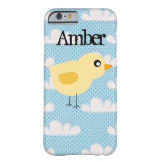 Personalized Cute Yellow Baby Chick with Clouds Barely There iPhone 6 Case