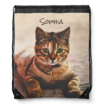 Personalized Cute Young Tabby Cat Kitten Kitty Pet Drawstring Backpack