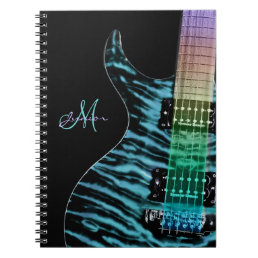 Personalized Cyan Electric Guitar Music Notebook