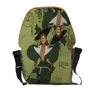 Personalized Cycle Vintage Girl Messenger Bag rickshawmessengerbag
