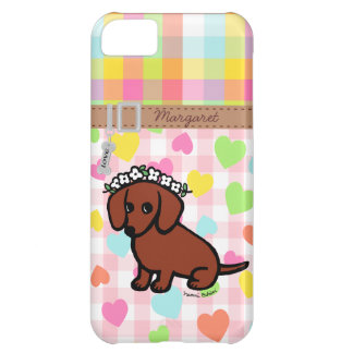Personalized Dachshund and Flowers Cartoon Case For iPhone 5C