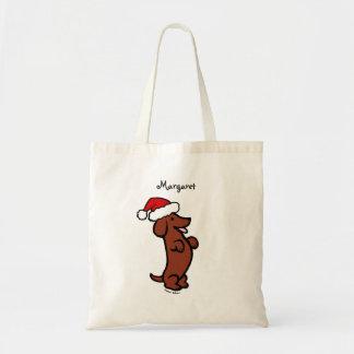Personalized Dachshund Christmas Santa Hat Tote Bag