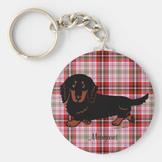 Personalized Dachshund Long Haired Black and Tan Basic Round Button Keychain