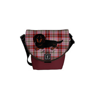 Personalized Dachshund Long Haired Black and Tan Messenger Bags