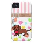 Personalized Dachshund Valentine Cartoon iPhone 4 Case-Mate Case