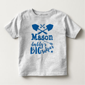 Personalized Daddy's Big Helper Blue and Gray Toddler T-shirt