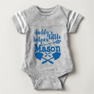 Personalized Daddy's Little Helper Blue and Gray Baby Bodysuit