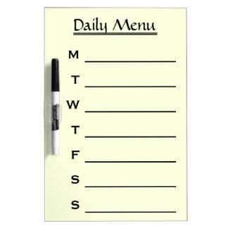 Personalized Daily Menu Weekly Menu Dry-Erase Board