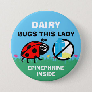 Personalized Dairy Allergy Alert Ladybug Pinback Button