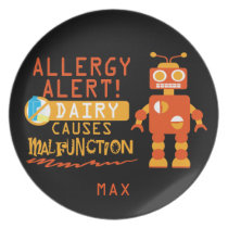 Personalized Dairy Allergy Alert Orange Robot Dinner Plate