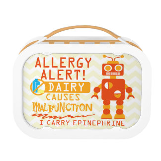 Personalized Dairy Allergy Orange Robot Snack Lunch Box