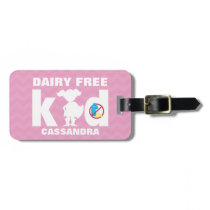 Personalized Dairy Free Girl Superhero Pink Kids Luggage Tag