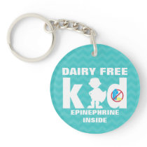 Personalized Dairy Free Super Boy Allergy Kids Keychain