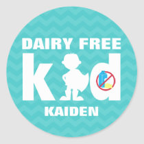 Personalized Dairy Free Super Boy Teal Chevron Classic Round Sticker