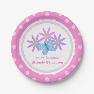 Personalized Daisy and Butterfly Paper Plates 2 7 Inch Paper Plate