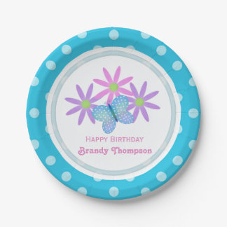 Personalized Daisy and Butterfly Paper Plates 3 7 Inch Paper Plate