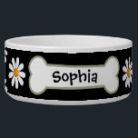 "Personalized Daisy Dog Bowl with Black Background<br><div class=""desc"">Get the Personalized Daisy Dog Bowl from the Doberman Express!</div>"