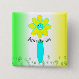 Personalized Daisy Flower Pinback Button