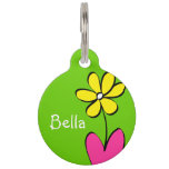 Personalized Daisy Pet Tag - Green/Pink<br><div class='desc'>This cute daisy pet tag is perfect to attach to that new spring collar. Personalize it with your pet&#39;s name on the front and on the back. Also, the back has a place for your contact information in case your pet gets lost. To change the background colors or font, just...</div>