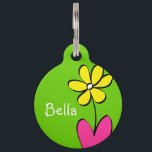 "Personalized Daisy Pet Tag - Green/Pink<br><div class=""desc"">This cute daisy pet tag is perfect to attach to that new spring collar. Personalize it with your pet's name on the front and on the back. Also, the back has a place for your contact information in case your pet gets lost. To change the background colors or font, just...</div>"