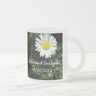 Personalized Daisy Wedding Frosted Glass Coffee Mug