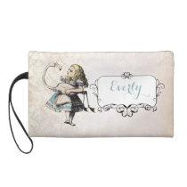 Personalized Damask Alice In Wonderland Wristlet