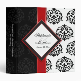 Personalized Damask and Red Ribbon 1.5 Inch Binder