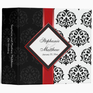 Personalized Damask and Red Ribbon 2 Inch Binder
