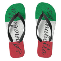 Personalized Damask Italian Flag Flip Flops