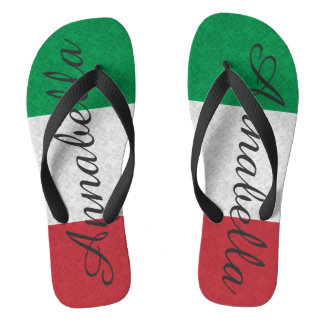 Personalized Damask Italian Flag Flip Flops
