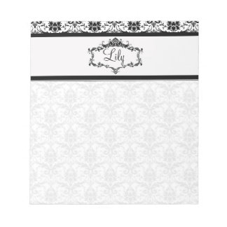 Personalized Damask Notepad - Black and White
