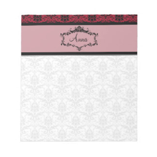Personalized Damask Notepad - Maroon