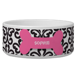 Personalized damask pink dog bone pet food bowl