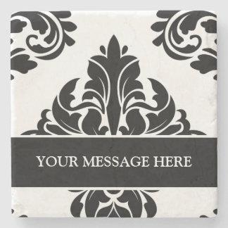 Personalized damask stone coasters black and white