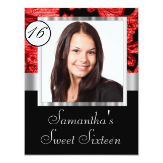 Personalized damask sweet sixteen card