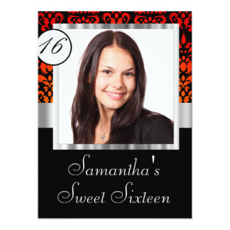 Personalized damask sweet sixteen card