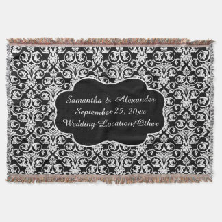 Personalized Damask Wedding Custom Keepsake Throw