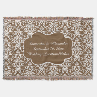 Personalized Damask Wedding/Custom Sand/White Throw