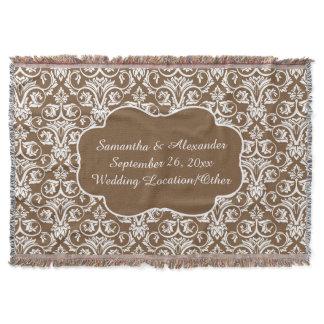 Personalized Damask Wedding/Custom Sand/White Throw