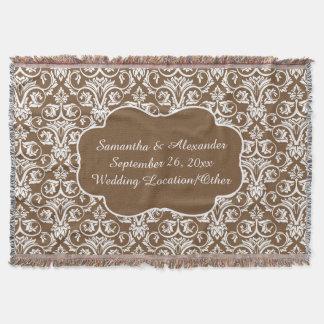 Personalized Damask Wedding/Custom Sand/White Throw Blanket